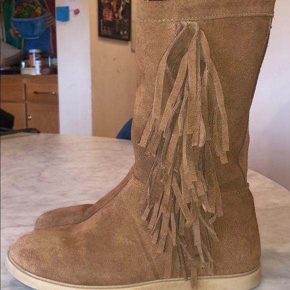 girls suede fringe boots
